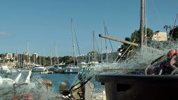 Spain Mallorca Island small town Porto Cristo 007 thin fishing nets and rigging Footage