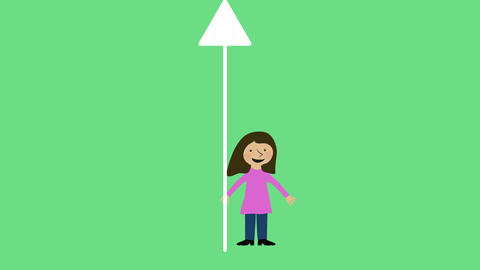 Woman and arrow moving up. Concept of career, progress and success. Animated cha Animation