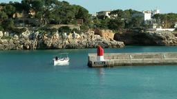 Spain Mallorca Island small town Porto Cristo 019 fishing boat at the mole Footage