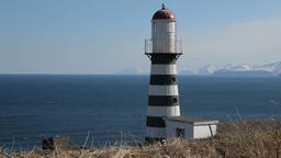 Petropavlovsk Lighthouse on coast of Pacific Ocean. Petropavlovsk-Kamchatsky Footage