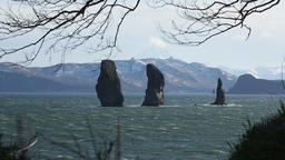Kamchatka Peninsula seascape: Three Brothers Rocks in Pacific Ocean