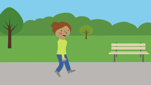 Happy woman walking in nature on summer day. Animated character with flat design Animation