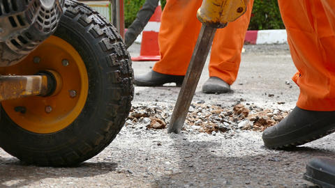 Road Repairing Works with Jackhammer Filmmaterial