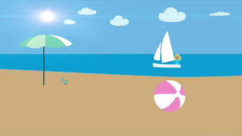 Woman in sail boat sailing by beach. Summer vacation at the sea. Animation with  Animation