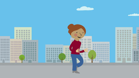Happy woman running in city. Animated character with flat design. Healthy lifest Animation