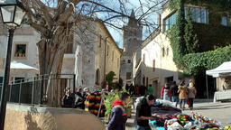 Spain Mallorca Island Sineu village 016 weekly market in old town ambience Footage