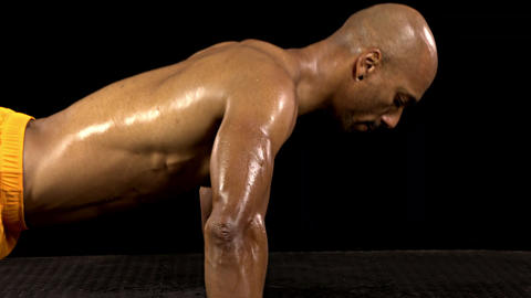 Athletic Man Doing Push-Ups Live Action