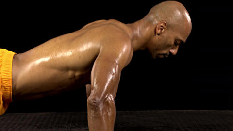 Athletic Man Doing Push-Ups Stock Video Footage