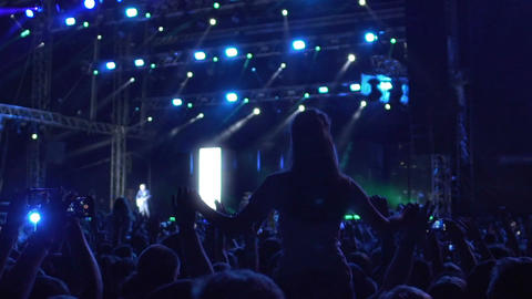 Excited audience actively partying at favourite band concert, extra slowmotion Footage