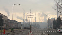 Factory for processing of hot metal and steel, smoke smog Footage