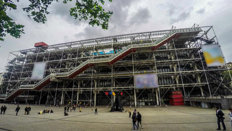 Entrance to Pompidou Centre in Paris, many people go sightseeing, time lapse Footage