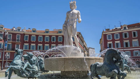 Statue of Apollo in center of fountain, sightseeing tour to Nice, sculpture art Footage