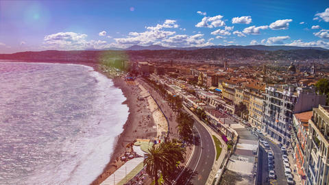 Coastal area of Nice with public beach, sea waves rolling on shore, time lapse Footage