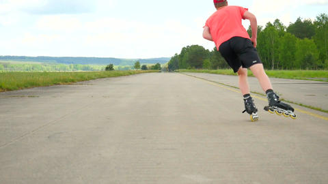 Well practise skater enjoy inline shuffling. Man with sunglasses, light red t-sh Footage