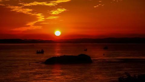Timelapse-Setonaikai National Park, the setting sun Footage