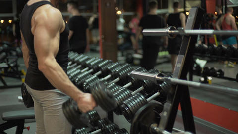 Muscleman lifting heavy dumbbells alternatively in the gym, bodybuilding Footage