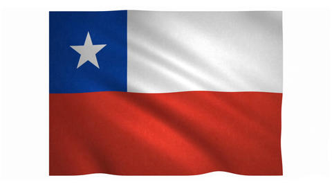 Flag of Chile waving on white background Animation