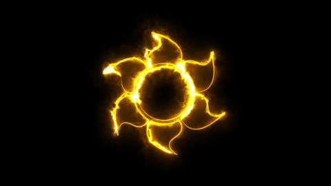 Burning Orange Neon Sun Logo Graphic Element Type 2 Animation