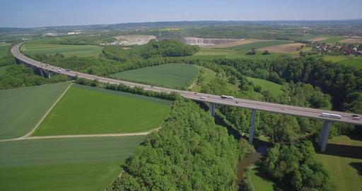 Aerial, Hover At A German Autobahn Bridge