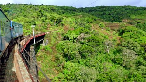 Train crossing bridge through amazing highlands landscape. Sri Lanka Footage
