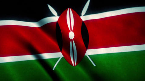 Kenya Flag Blowing in the Wind Animation
