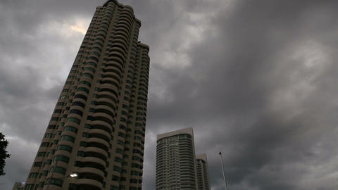 Dark Clouds over Skyscrapers Footage