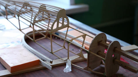 Wooden Frame Model Airplane stock footage