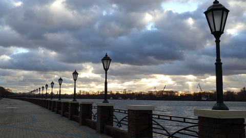 Street Lamps Lighting The River UHD stock footage
