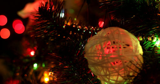 Christmas tree with Colorful bokeh and christmas lights out of focus Footage