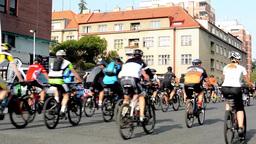 cycling race - cyclist - the city (urban street) - buildings Footage