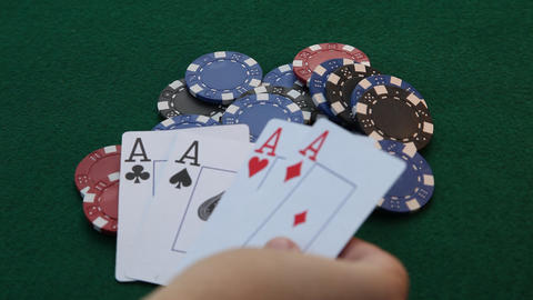 Pile of poker chips and 4 aces Footage