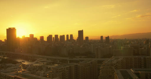 The Sun goes down over Osaka City Footage