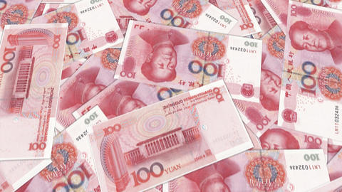 Bank Renminbi rmb yuan Chinese money banknote international economy currency Footage