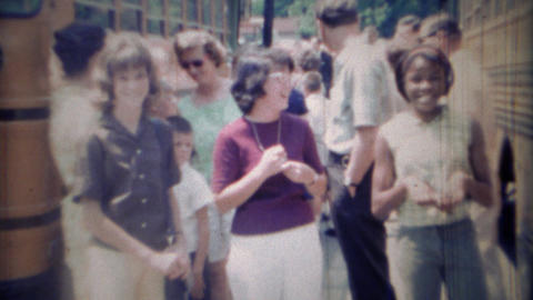1969: School bus field trip day kids multicultural event Footage
