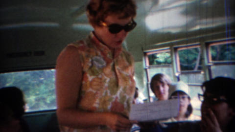 1969: Inside of a short school bus for gifted students Footage