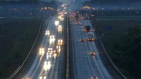 cars traveling on highway road at night, timelapse Footage