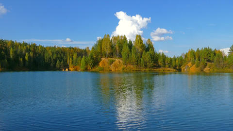 aututmn lake landscape in Ural mountains, 4k Footage