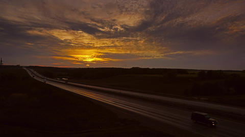 Cars On Highway Road At Sunset, Timelapse, 4k stock footage