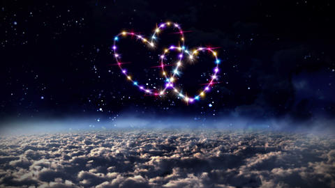 hearts color star in outer space Animation