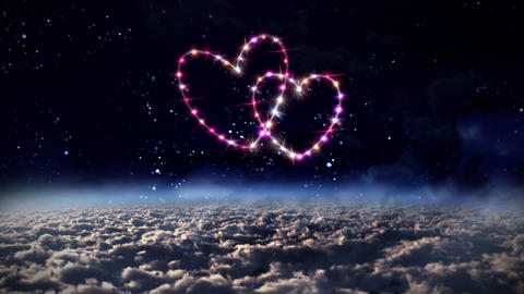 hearts pink star in outer space Animation