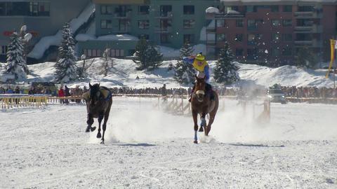 St Moritz European Championship Horse Race stock footage