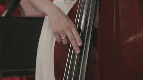 One girl is playing on the contrabass ビデオ