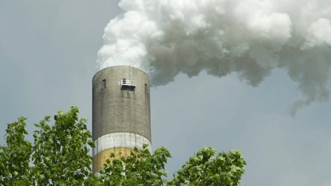 Industrial Chimney Smoking With Leafy Tree in Foreground Footage
