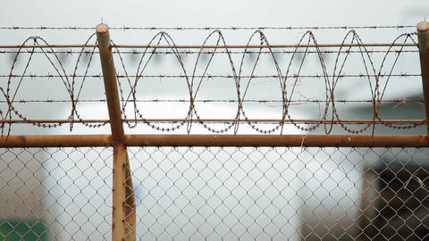 Fence with barbed wire Footage
