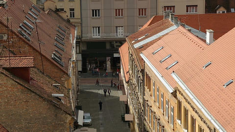 Beautiful view on red roofs and narrow street of Zagreb, tourism in Croatia Footage