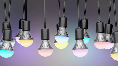 Colorful LED light bulbs Animation