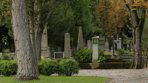 Panorama of beautiful Mirogoj cemetery park with lots of graves and tombs Footage