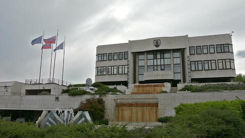 The Slovak Parliament building in Bratislava Footage