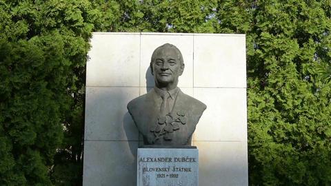 the bust of Alexander Dubček in Bratislava Footage