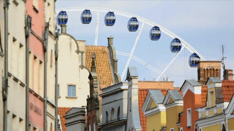Giant Amber Sky panoramic wheel rotating in Gdansk, city observation, tourism Footage